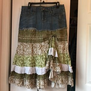 Candie's BOHO Vintage Style Hippie Skirt Denim Top